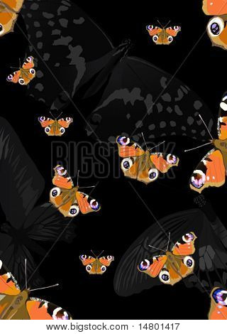 illustration with red butterfly background