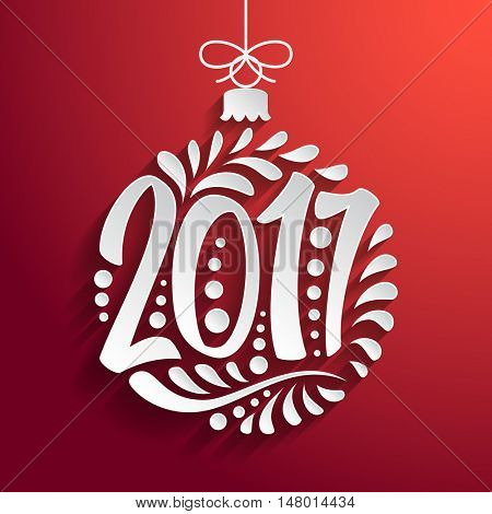 Holidays greeting card with a calligraphic lettering. Vector eps10 illustration. Christmas ball 2017 year