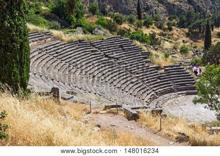 Amphitheater in Ancient Greek archaeological site of Delphi,Central Greece