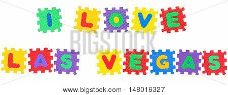 Message I Love Las Vegas from letters puzzle isolated on white background.
