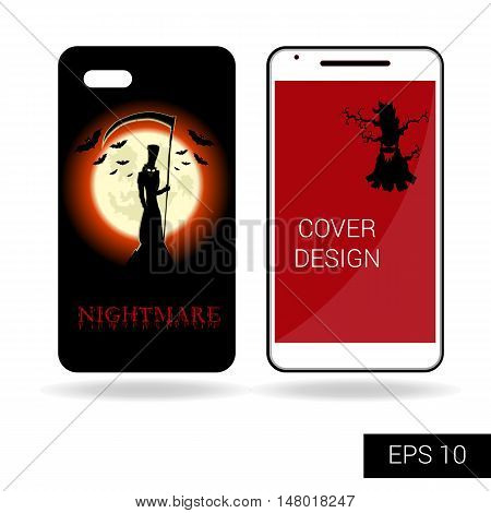 Design cover mobile smartphone with scary monster or death on top mountain on backdrop big moon. Concept in cartoon style isolated on white background. Vector illustration