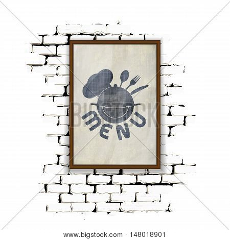 Template for restaurant menu in a frame on a brick wall. Achieved as isolated objects on a white background with no border can be used with any image or text.