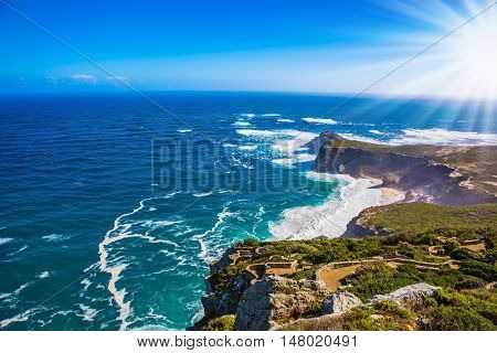Cape of Good Hope in the Atlantic Ocean. Cape on the Cape Peninsula south of Cape Town, South Africa. The most extreme south-western point of Africa