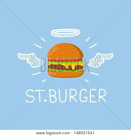 "Burger concept ""St. Burger"" with angel halo and wings. Flat and doodle vector isolated illustration poster"