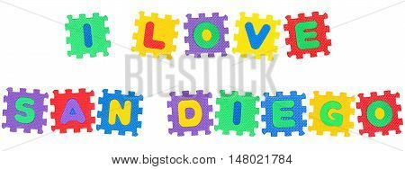 Message I Love San Diego from letters puzzle isolated on white background.