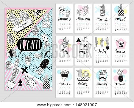 Calendar 2017 with cute quirky cartoon cacti stickers illustrations. Vector calendar set with cactus succulents in minimalistic geometric scandinavian style and trendy colors. Poster card template