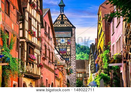 Most beautiful villages of France - Riquewihr in Alsace. Famous vine route
