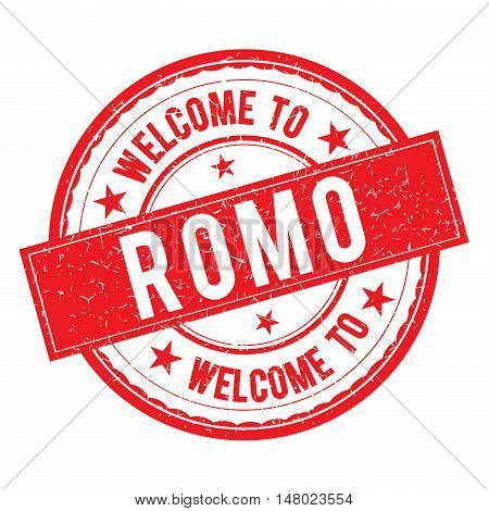 Welcome To Romo Stamp Sign Vector.