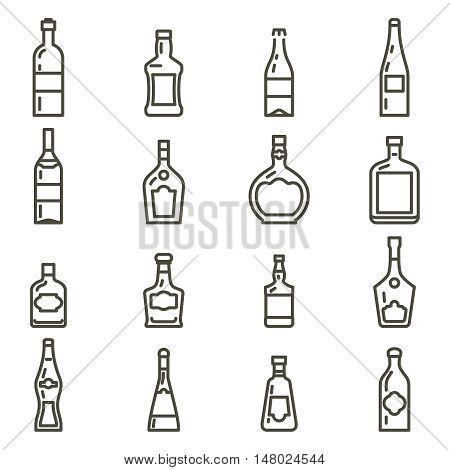 Alcohol bottles. Different types of alcohol thin line bottles icons set. Vector illustration
