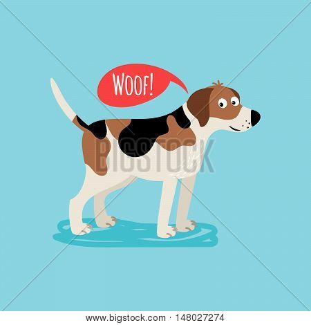 Vector cartoon happy dog, card template with text woof