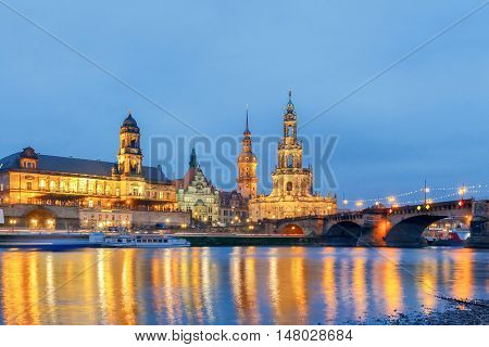 Holy Trinity Cathedral and bell tower of the Hofkirche in Dresden, Germany.