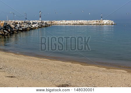 Pier and Beach of Skala Kallirachis, Thassos island, East Macedonia and Thrace, Greece