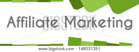 Affiliate marketing text written over abstract green background.