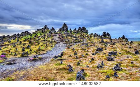 Laufscalavarda, a lava ridge, surrounded by stone cairns - South Iceland