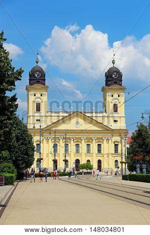 DEBRECEN, HUNGARY - JULY 1, 2016: Kossuth Ter, the central square of Debrecen, with Reformed Great Church (Nagytemplom)