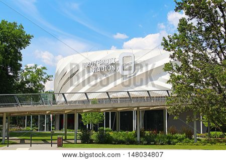 DEBRECEN, HUNGARY - JULY 1, 2016: Nagyerdei Football Stadion, opened in 2014 after reconstruction with capacity of 20340 spectators