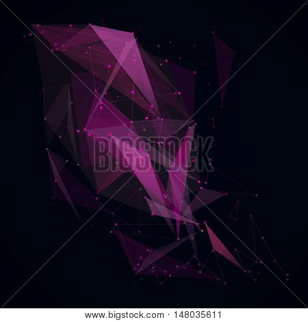 Abstract composition. Minimalistic fashion backdrop design. Black, purple space star icon. Triangle font texture. Modern ad banner. Angle, dot connection fiber. Linking line ornament. Stock vector