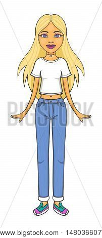 Cartoon girl character with long blonde hair wearing white t-shirt blue jeans sneakers and choker necklace isolated on white background. Beautiful young woman posing in trendy casual clothes.