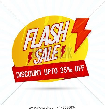 Flash Sale with Discount Upto 35% Off, Creative Paper Tag or Banner design, Vector illustration - Useable for Poster, Flyer or Pamphlet.