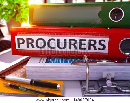 Procurers - Red Office Folder on Background of Working Table with Stationery and Laptop. Procurers Business Concept on Blurred Background. Procurers Toned Image. 3D.