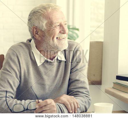 Senior Adult Thinking Memory Happy Concept