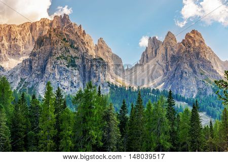 Scenic Dolomites Vista. South Tyrol Italy. Mountain Landscape Scenery poster