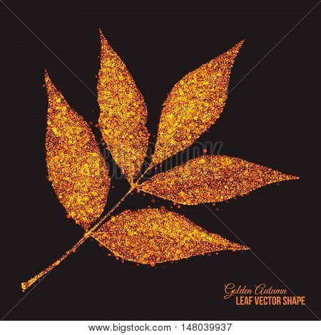 Abstract bright golden shimmer glowing dots in autumn ash-tree leaf shape artistic vector background. Scatter shine tinsel particles light effect. Handmade stippled art floral illustration