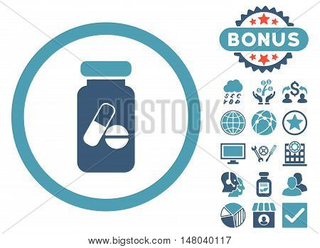 Drugs Phial icon with bonus pictures. Vector illustration style is flat iconic bicolor symbols cyan and blue colors white background.