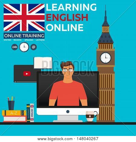 Learning English Online. Online Training. Distance Education. Online Education. Language Courses, Fo