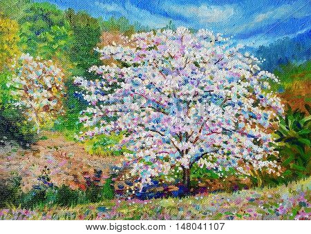 Painting oil color landscape original colorful of white flower and emotion in sunshine with cloud in the sky background