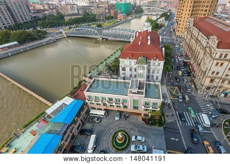 Shanghai China - October 23 2013: Top view of the Russian Consulate General in Shanghai China.