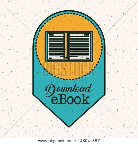 Ebook download icon. Education elearning and technology theme. Colorful design. Vector illustration