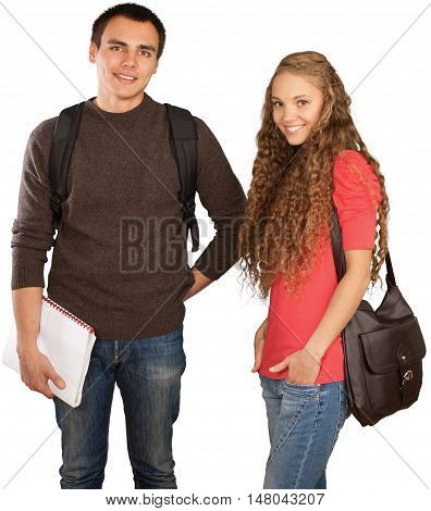 Friendly Girl and Boy with Rucksack, Shoulder Bag and Note Pad - Isolated