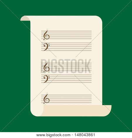 Vector illustration of an unrolled note paper with violin and bass keys on green background