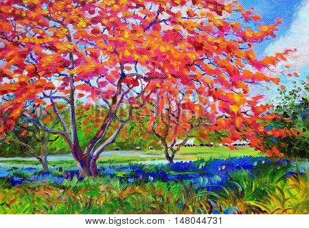 Painting oil color landscape original colorful of peacock flower tree and emotion in blue with cloud in the sky background