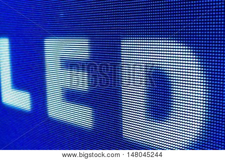 Bright colored LED sign at the LED smd screen - close up background