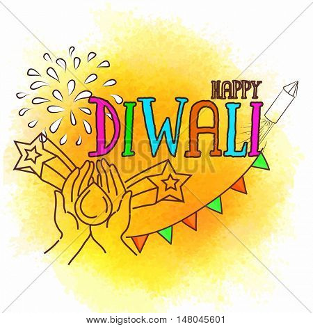 Colourful Text Diwali with Firecrackers, Beautiful greeting card for Hindu Community Festival of Lights Celebration, Vector illustration.