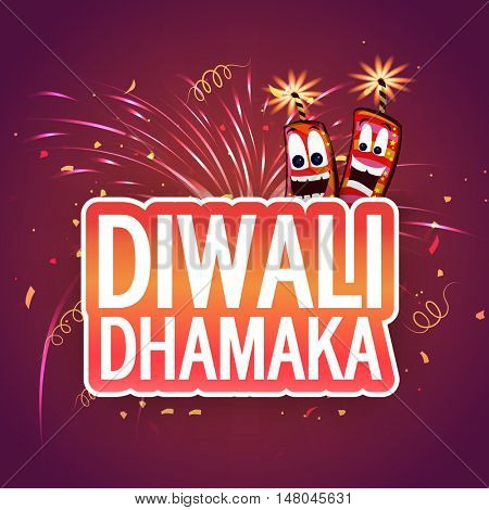 Sparkling fireworks background with funny Firecrackers, Vector paper style Text, Elegant illustration for Indian Festival of Lights, Happy Diwali Celebration.