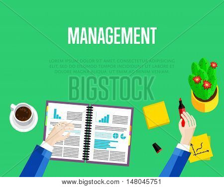 Management template. Top view office workspace, vector illustration. Overhead view of businessman working with financial documents on green background. Office workplace banner with space for text