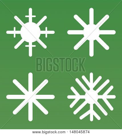 Set of vector snowflakes includes four simple snowflakes suitable for plotter cutting and other types of work