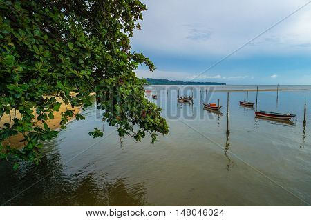 Fisherman boats at Tanjung Aru village at Labuan,Malaysia.The fishing industry contributes a significant income to islanders here.