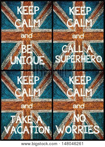 Photo Collage Of Various Keep Calm Messages