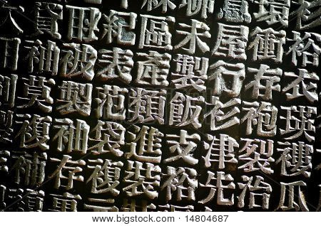 A horizontal arrangement of random Chinese type and character symbols, shallow depth of field. Mixed both new and well worn characters.