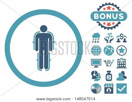 Exoskeleton icon with bonus pictures. Vector illustration style is flat iconic bicolor symbols, cyan and blue colors, white background.