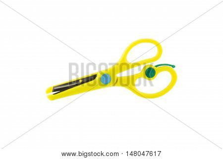 Scissors with plastic handles. isolated on white background.