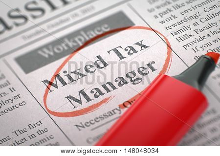 Mixed Tax Manager. Newspaper with the Jobs, Circled with a Red Highlighter. Blurred Image. Selective focus. Job Seeking Concept. 3D Rendering.