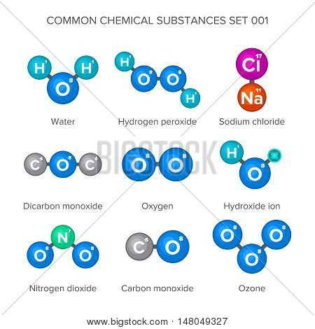 Molecular structures of common chemical substances on white background