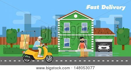 Delivery boy on scooter with cardboard boxes near house of customer on background of urban landscape. Fast delivery banner, vector illustration. Commercial vehicle. Motorcycle courier service