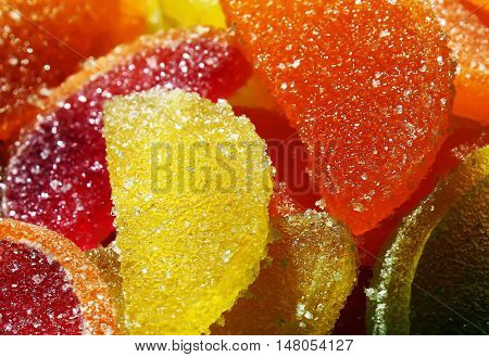 Colorful bright fruit jelly candies close up