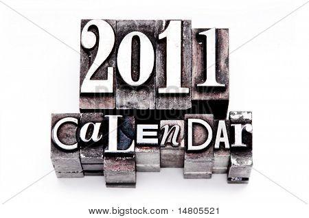 2011 Kalender im Jahrgang, steinige und bunten Buchdruck Typ getan. Shallow Focus und prozessübergreifende